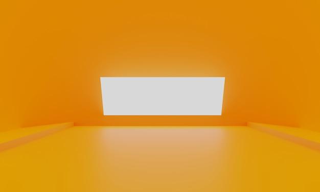 Pomarańczowego abstrakcjonistycznego minimalnego tła pusty pokój z rozjarzonym światłem