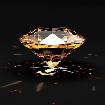 Pomarańczowy diament ze świecącymi promieniami na czarnym tle