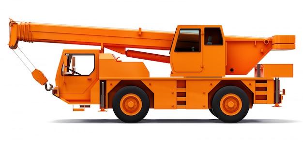Pomarańczowy dźwig samojezdny. trójwymiarowa ilustracja