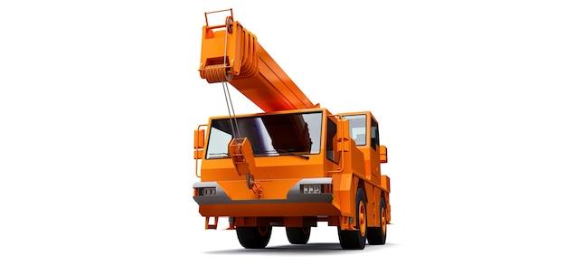 Pomarańczowy dźwig samojezdny