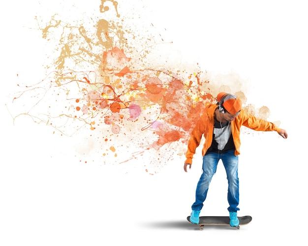 Pomarańczowy łyżwiarz