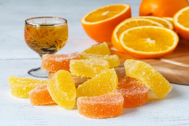 Pomarańczowy owocowy marmoladowy galaretowy zakończenie w górę widoku
