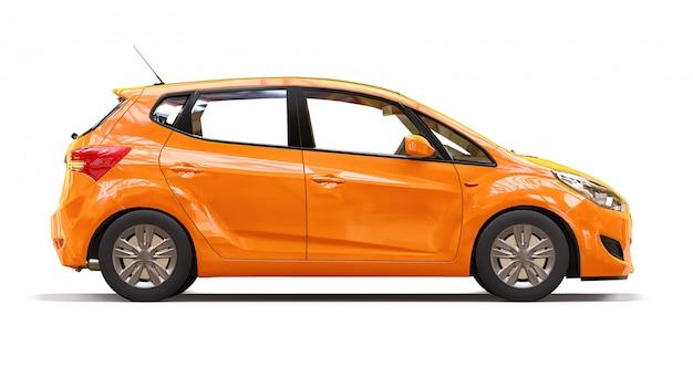Pomarańczowy samochód miejski z błyszczącą powierzchnią