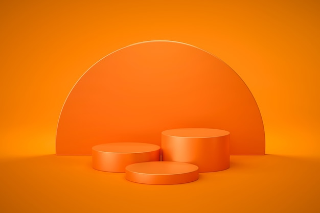 Pomarańczowy stojak lub cokół podium na pustym wyświetlaczu