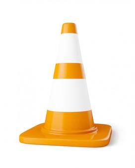 Pomarańczowy stożek do budowy dróg z białymi paskami