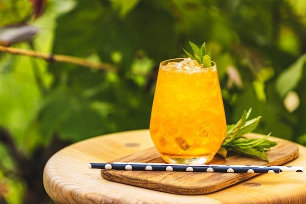 Pomarańczowy świeży napój z lodem na lata pogodnym ogrodowym tle.