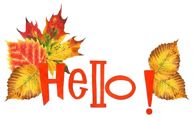 Pomarańczowy tekst cześć z jesiennymi liśćmi klon dębowy wiąz i brzoza liście jesienna ilustracja na białym tle