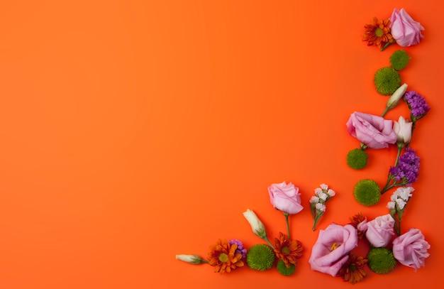Pomarańczowy tło z pięknymi kwiatami