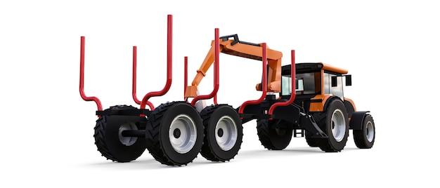 Pomarańczowy traktor z przyczepą do logowania na białym tle. renderowanie 3d.