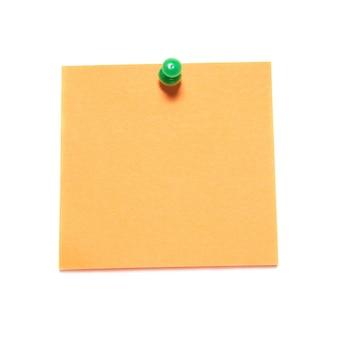 Pomarańczowy uwaga z tack na białym tle