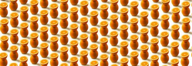 Pomarańczowy wzór owoców na białym tle, obraz panoramiczny