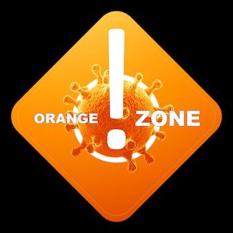 Pomarańczowy znak z napisem pomarańczowa strefa. pomarańczowy poziom zagrożenia, koronawirus, blokada, kwarantanna, wirus. wyizoluj na czarnym tle. renderowania 3d, ilustracja 3d.