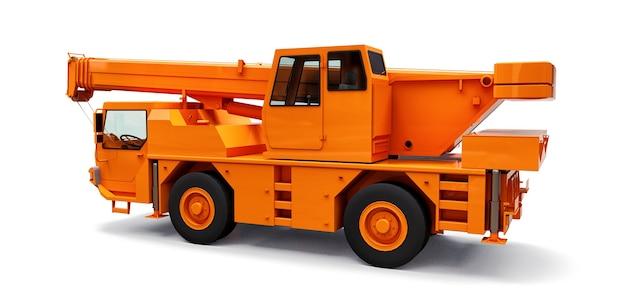 Pomarańczowy żuraw samojezdny. trójwymiarowa ilustracja. renderowania 3d.