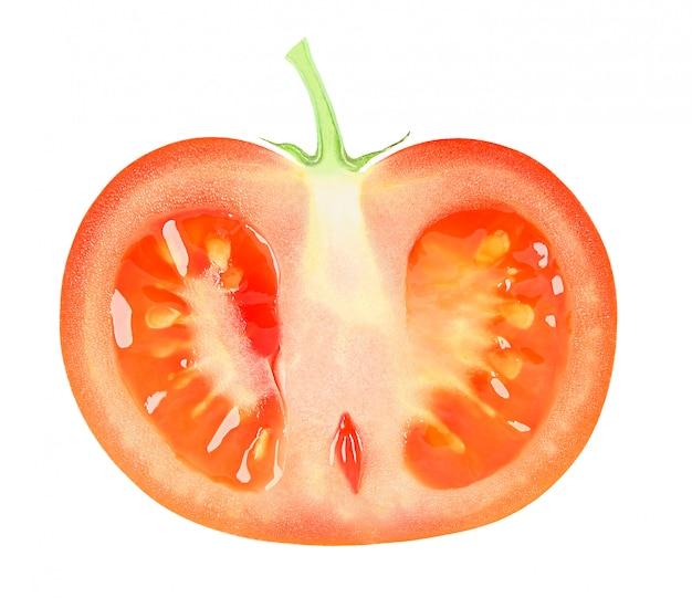 Pomidor ciie w połówce wzdłuż odizolowywającej na białym tle z ścinek ścieżką.