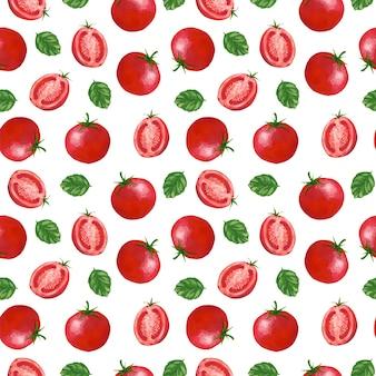 Pomidor gwasz wzór na białym tle. druk czerwonych warzyw na tekstylia, tkaniny, papier pakowy, tapety, projekty i dekoracje.