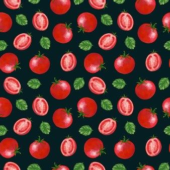 Pomidor gwasz wzór na ciemnym tle. druk czerwonych warzyw na tekstylia, tkaniny, papier pakowy, tapety, projekty i dekoracje.