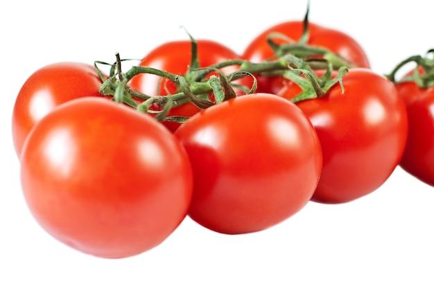 Pomidor z gałązką, na białym tle