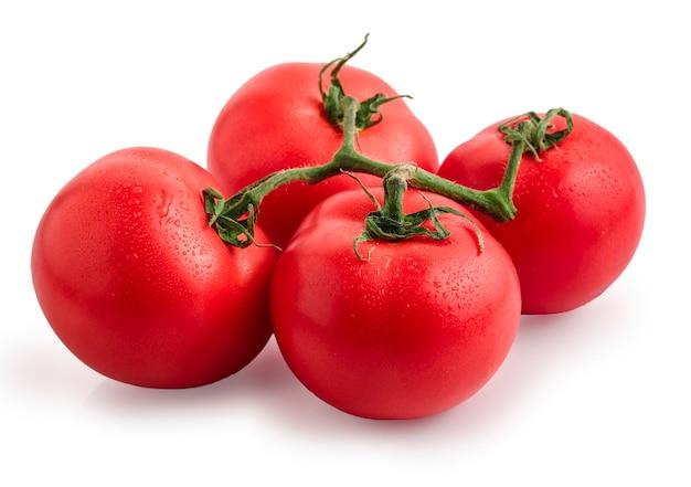 Pomidory odizolowywający na bielu. pomidor z kroplami.