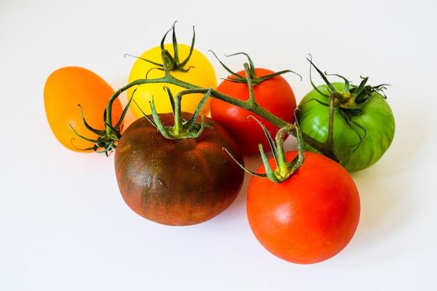 Pomidory w różnych kolorach na gałęzi