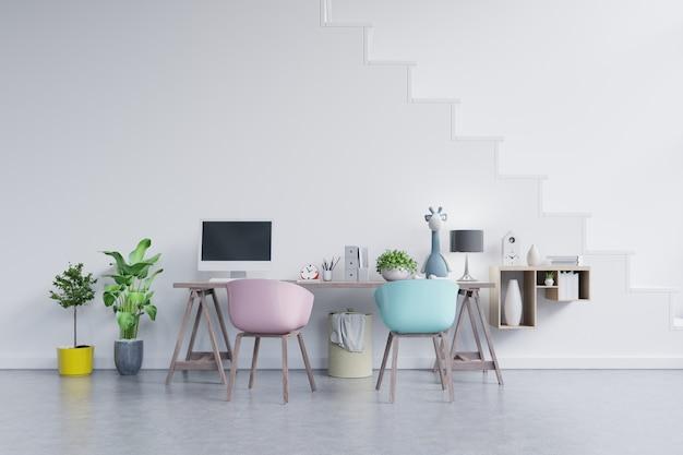 Pomieszczenie biurowe na pastelowym tle.