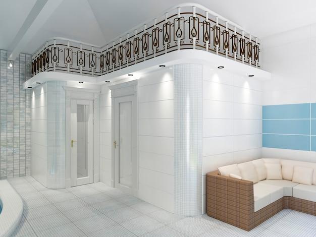 Pomieszczenie na szatnie i sauny we wnętrzu basenu. renderowanie 3d.