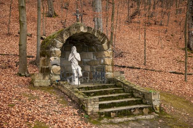 Pomnik jezusa chrystusa w bukowym lesie przy drodze na wzgórze jasnej do klasztoru w goszowie jesienią na ukrainie