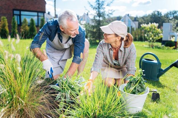 Pomoc w ogrodzie. dojrzały przystojny mężczyzna ubrany w białe rękawiczki, pomagając swojej pięknej młodej żonie w ogrodzie