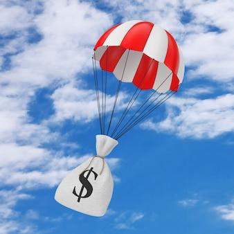Pomoc z koncepcją szybkich pieniędzy. wiązane rustykalne płótno lniane worek pieniędzy lub worek pieniędzy z znak dolara spadający ze spadochronem na tle błękitnego nieba. renderowanie 3d
