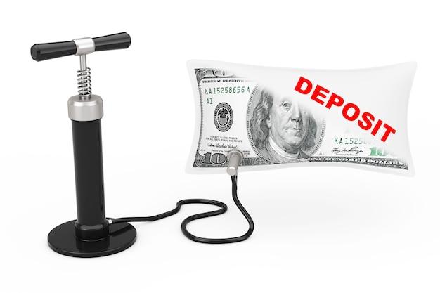 Pompa powietrza black hand nadmuchuje balon dolarów usa znakiem depozytu na białym tle. renderowanie 3d