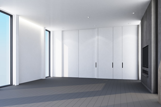 Pomysł białego nowoczesnego luksusowego pokoju i drewnianej szarej podłogi ze ścianą zdobi rendering wnętrz 3d