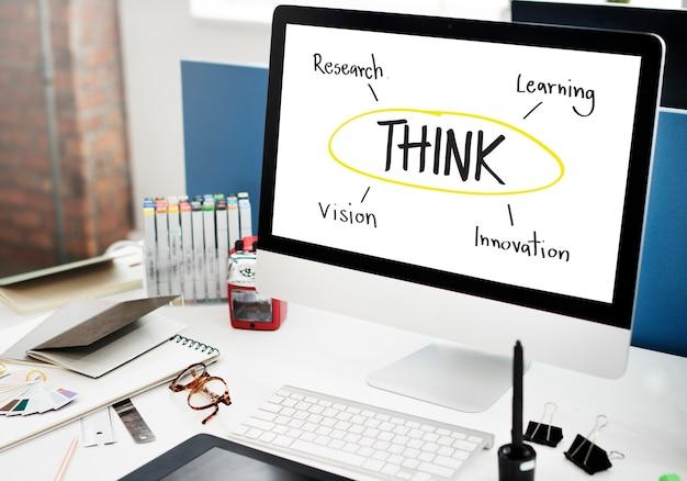 Pomyśl edukacja inspiruj dowiedz się diagram concept