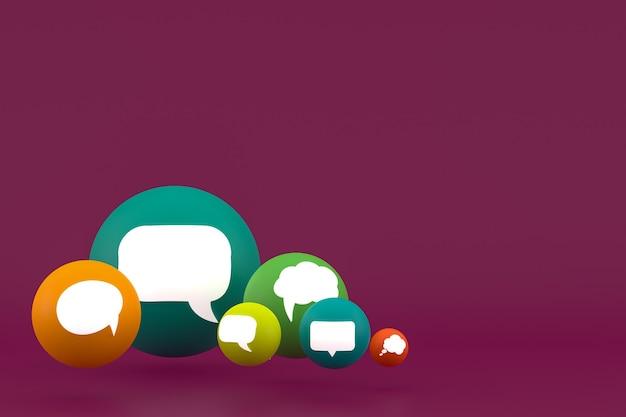 Pomysł komentarz lub myśl reakcje emoji renderowania 3d, symbol balonu w mediach społecznościowych z tłem wzoru ikony komentarza