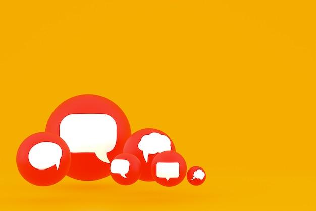 Pomysł komentarz lub pomyśl reakcje renderowania 3d emoji, symbol balonu mediów społecznościowych z tłem ikony komentarza