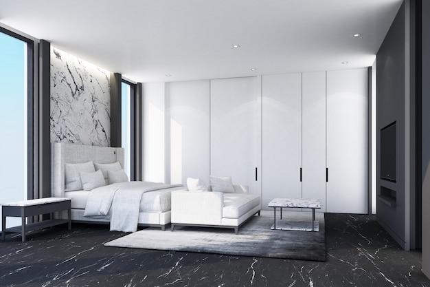 Pomysł na białą nowoczesną luksusową sypialnię i czarną marmurową podłogę ze ścianą zdobi rendering wnętrz 3d