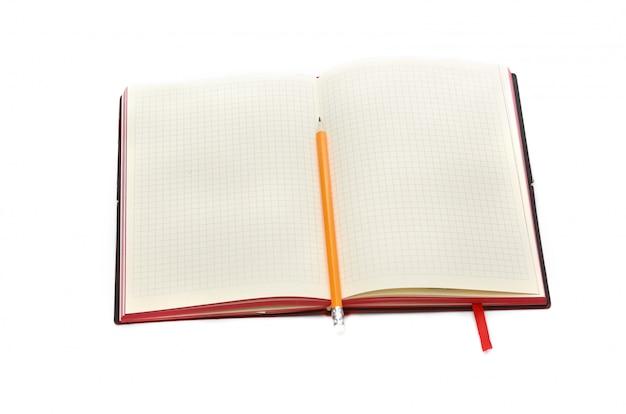 Pomysł na biznes. widok z góry kolekcja notebooka, białe otwarte zawinięte curl strony i ołówek na tle