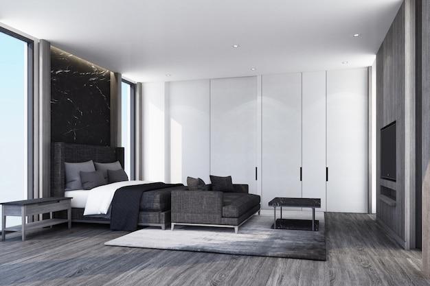 Pomysł na nowoczesną luksusową sypialnię i drewnianą podłogę ze ścianą zdobi rendering wnętrz 3d