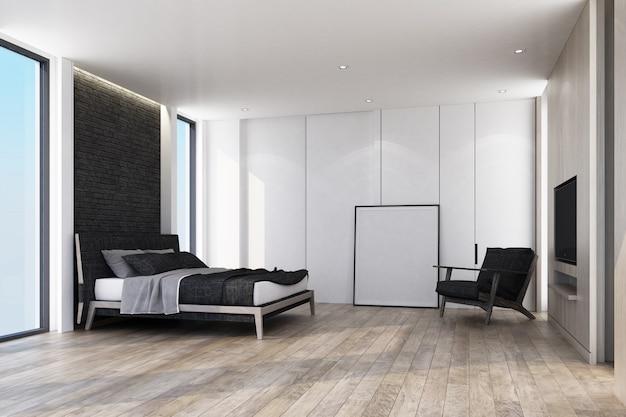 Pomysł na nowoczesną sypialnię na poddaszu i drewnianą podłogę ze ścienną czarną cegłą zdobi i oprawia rendering wnętrz 3d
