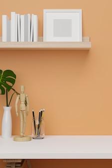 Pomysł na pokój w przyciętym ujęciu dla białego wystroju z neutralną pomarańczową przestrzenią na ścianę do wyświetlania produktu