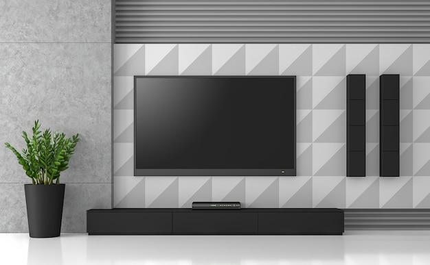 Pomysł na projekt ściany telewizora renderowanie 3ddekoruj ścianę z różnorodnym wzorem w czarno-szarym i białym kolorze