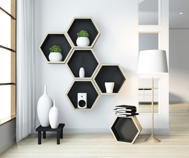 Pomysł na sześciokątny drewniany regał na ścianie w salonie w nowoczesnym stylu zen