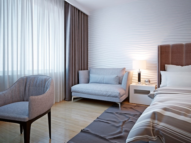 Pomysł na współczesny projekt sypialni z białym tłem z teksturami i miękkimi szarymi meblami oraz falistą tynkową ścianą i pokojem.