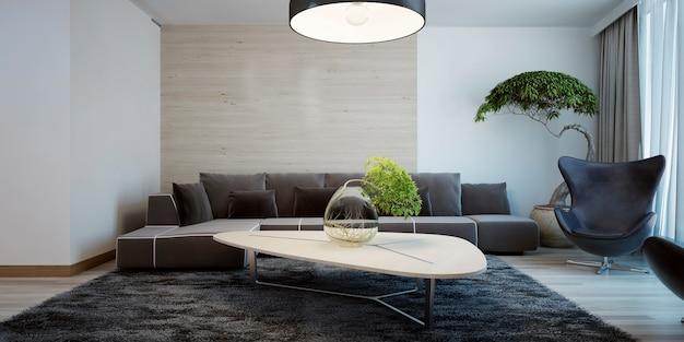 Pomysł na współczesny salon z połączonymi ścianami i ciemnymi meblami oraz jasnym drewnianym stołem.
