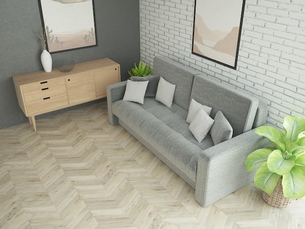 Pomysł na wystrój salonu z sofą i białą ścianą z cegły