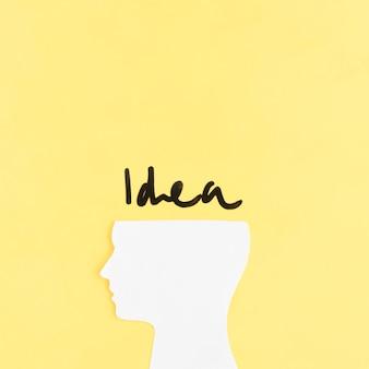 Pomysł słowo nad wycinanka ludzkim mózg na żółtym tle