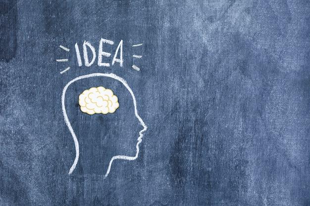 Pomysł tekst nad kontur twarzą z papierowym wycinanka mózgiem rysującym na chalkboard