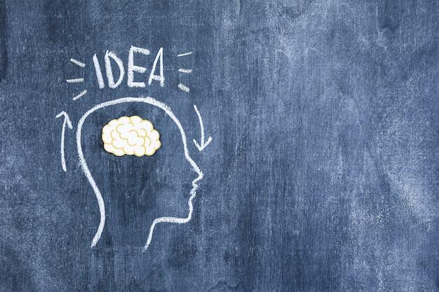 Pomysł tekst nad mózgiem w rysującej kontur twarzy na chalkboard