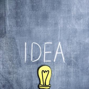 Pomysł tekst pisać z kredą nad papierową wycinanki żarówką na chalkboard