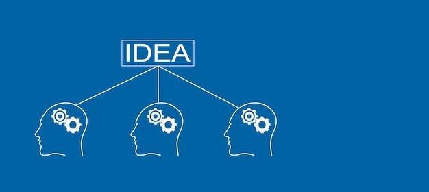 Pomysł z ludźmi i biegami w głowie ikona na niebieskim tle