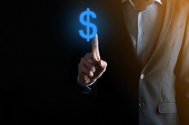Pomyślna koncepcja sinvestment międzynarodowego symbolu finansowego z człowiekiem biznesmenem trzymać pokazując wzrost, wykresy i znak dolara, technologia cyfrowa.