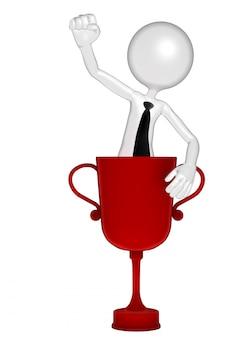 Pomyślny biznesmen z trofeum filiżanką